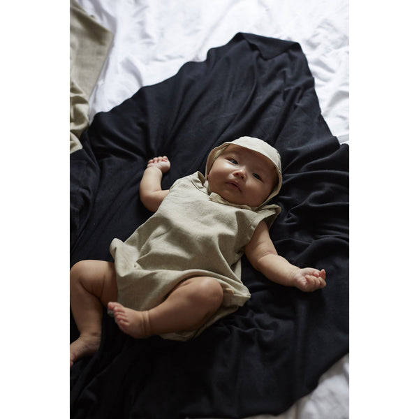 bacabuche bubble romper + bonnet oat - kodomo boston, fast shipping.