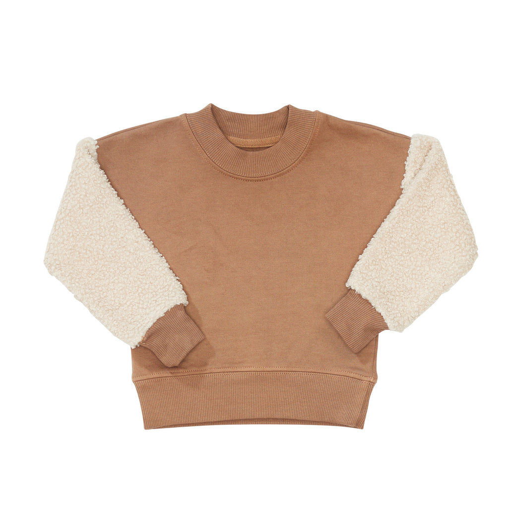 bacabuche sherpa sleeve fleece pullover nude/oatmeal - kodomo boston, fast shipping, organic cotton kids clothes
