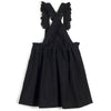 wolf & rita carmen denim black dress, lace detail minimalistic trendy new fashions for children girls at kodomo boston, free shipping