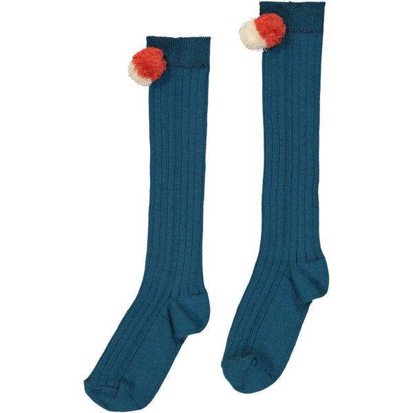hello simone pom pom socks aqua - kodomo tights/socks - children's clothing in boston, hello simone - bobo choses, atsuyo et akiko, belle enfant, mamma couture, moi, my little cozmo, nico nico