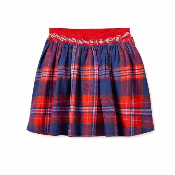 oilily sunday skirt treasured check blue, girls plaid print skirts
