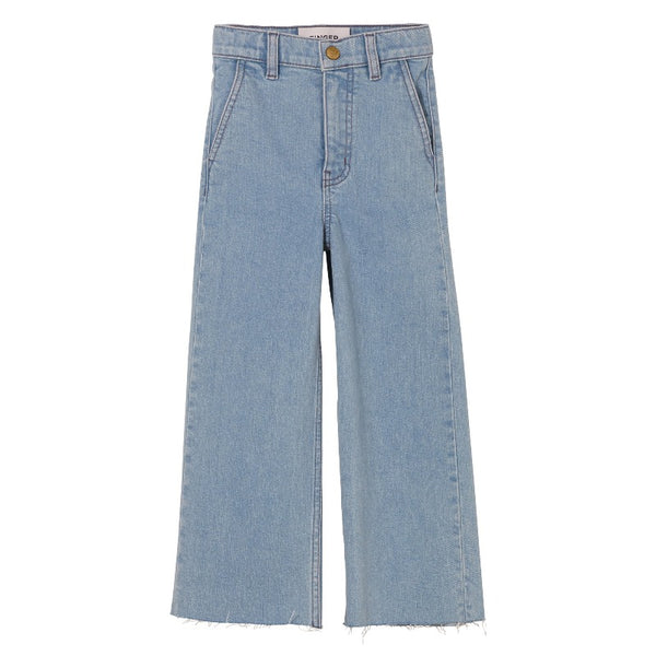 finger in the nose charlie loose fit cropped jeans bleached blue, girl's denim bottoms