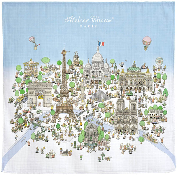 atelier choux baby swaddle paris - kodomo boston, baby organic cotton swaddles, new atelier choux print blankets