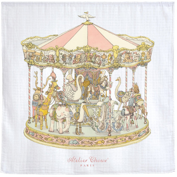 atelier choux carre carousel, ethical baby blankets and swaddles at kodomo boston, fast shipping