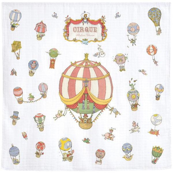 atelier choux carré circus, baby blanket swaddle