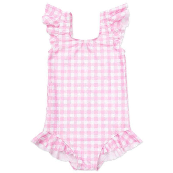 bonton alina swimsuit vichy rose, girls' one piece swimwear