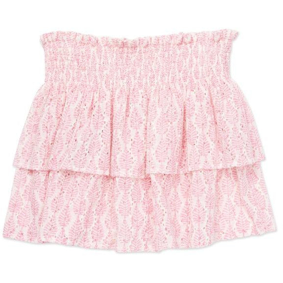 bonton leaves smocked skirt pink, girls cotton ruffle bottoms