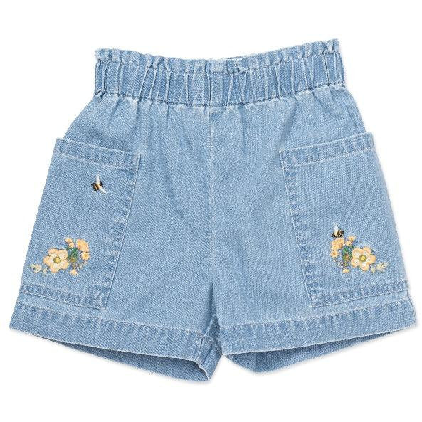 bonton embroidered shorts denim blue, girls cotton bottoms