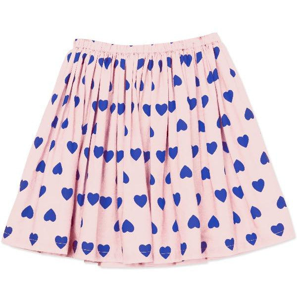 bonton hearts woven skirt pale pink, girls cotton bottoms