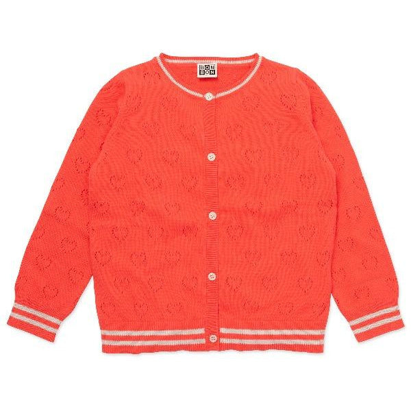 bonton cardigan gaspacho red, kids gots-certified cotton sweater