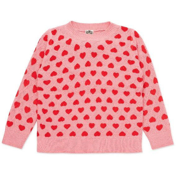 bonton hearts pullover pink/red, girls organic cotton sweater