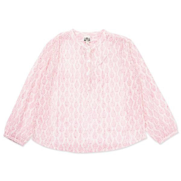 bonton leaves tunic pink, girls cotton blouse