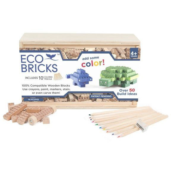 once kids eco-bricks 90 piece 10 color pencils, children's arts crafts blocks