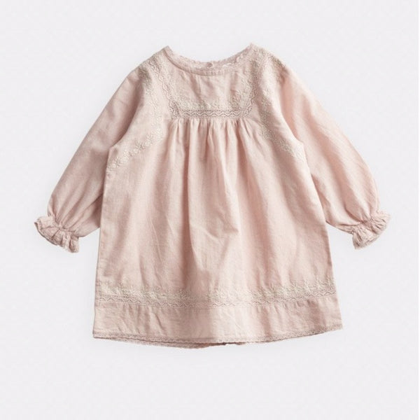 belle enfant lace & embroidery dress beige, girl spring summer dresses from french brand belle enfant, free shipping