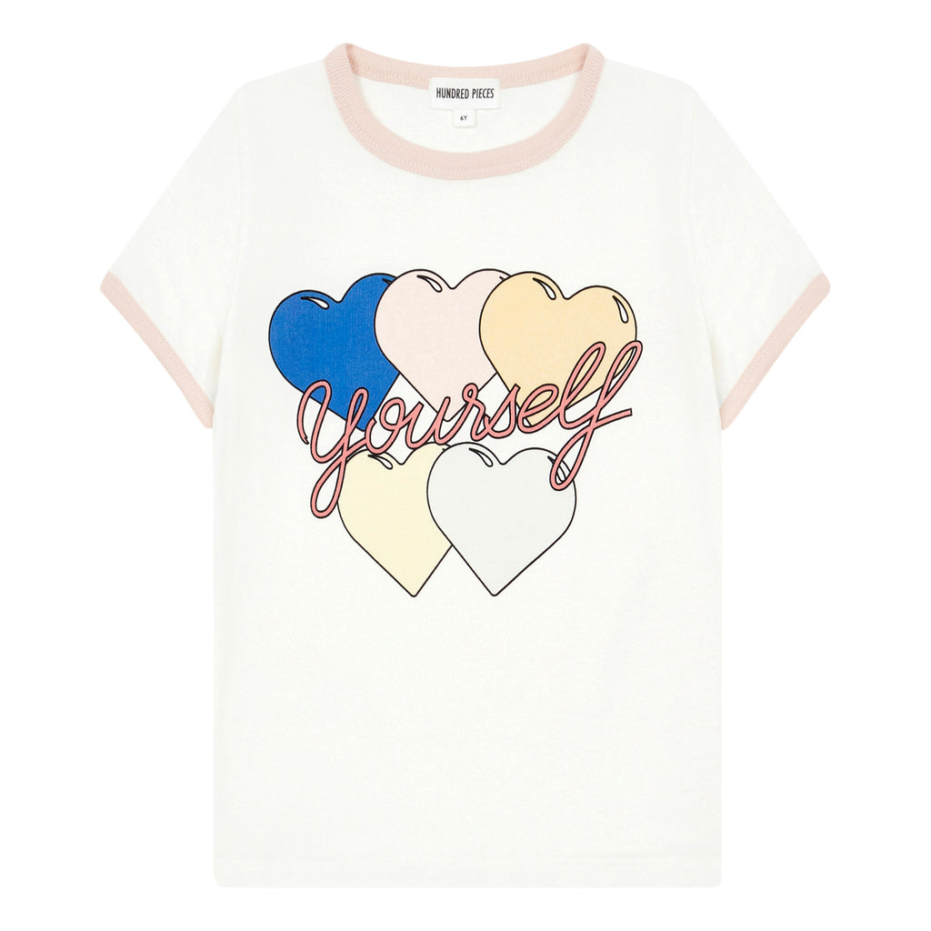 hundred pieces love yourself t-shirt off white, girls and tweens tshirts spring summer at kodomo boston, free shipping