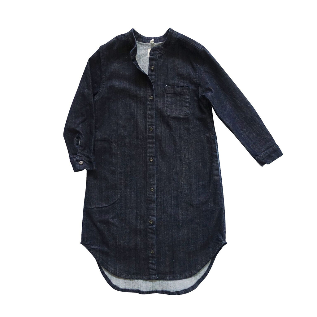nico nico flair denim shirt dress indigo - kodomo