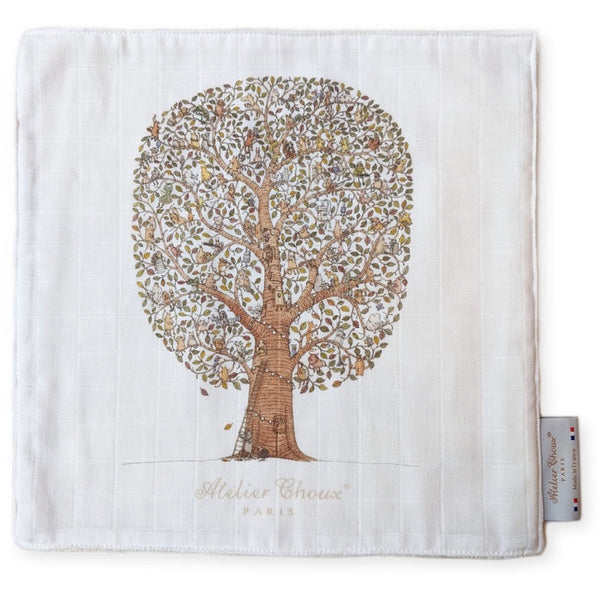 atelier choux friends & family tree mini towel, ethical and beautiful baby accessories and blankets made in france at kodomo boston, fast shipping.
