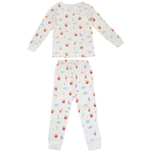 dodo banana pajama set fries and shakes, kid's organic pima cotton loungewear