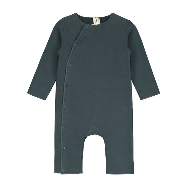 gray label baby suit with snaps blue grey, baby's organic cotton playsuit