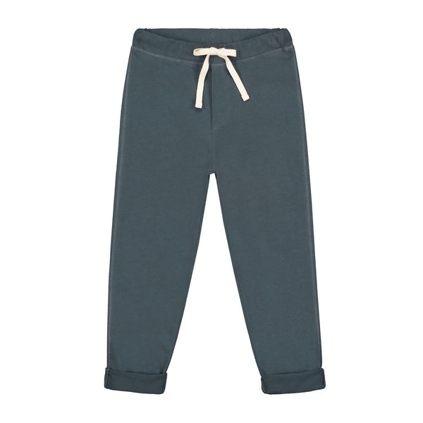 gray label relaxed jersey trousers blue grey - kodomo