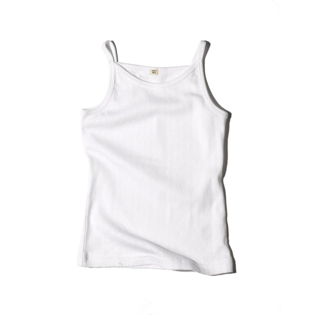 goat-milk girl's tank white - kodomo boston. free shipping.