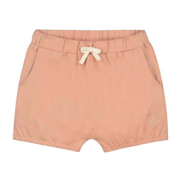 gray label puffy shorts rustic clay, children's organic cotton bottoms