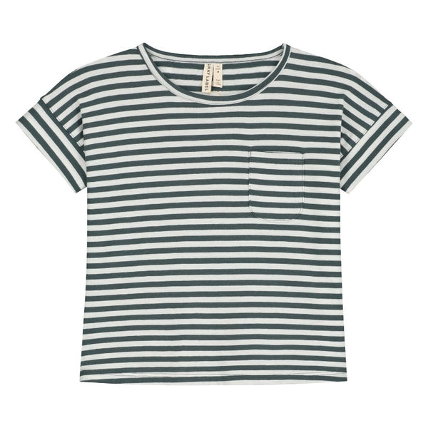 gray label boxy tee blue grey/off white, children's organic cotton tops
