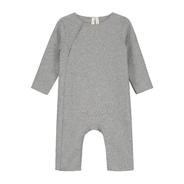 gray label, baby suit with snaps, grey melange, soft one piece outfit