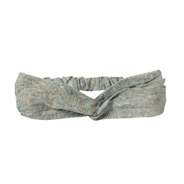 bonheur du jour indian floral headband blue/green, girls cotton hair accessories