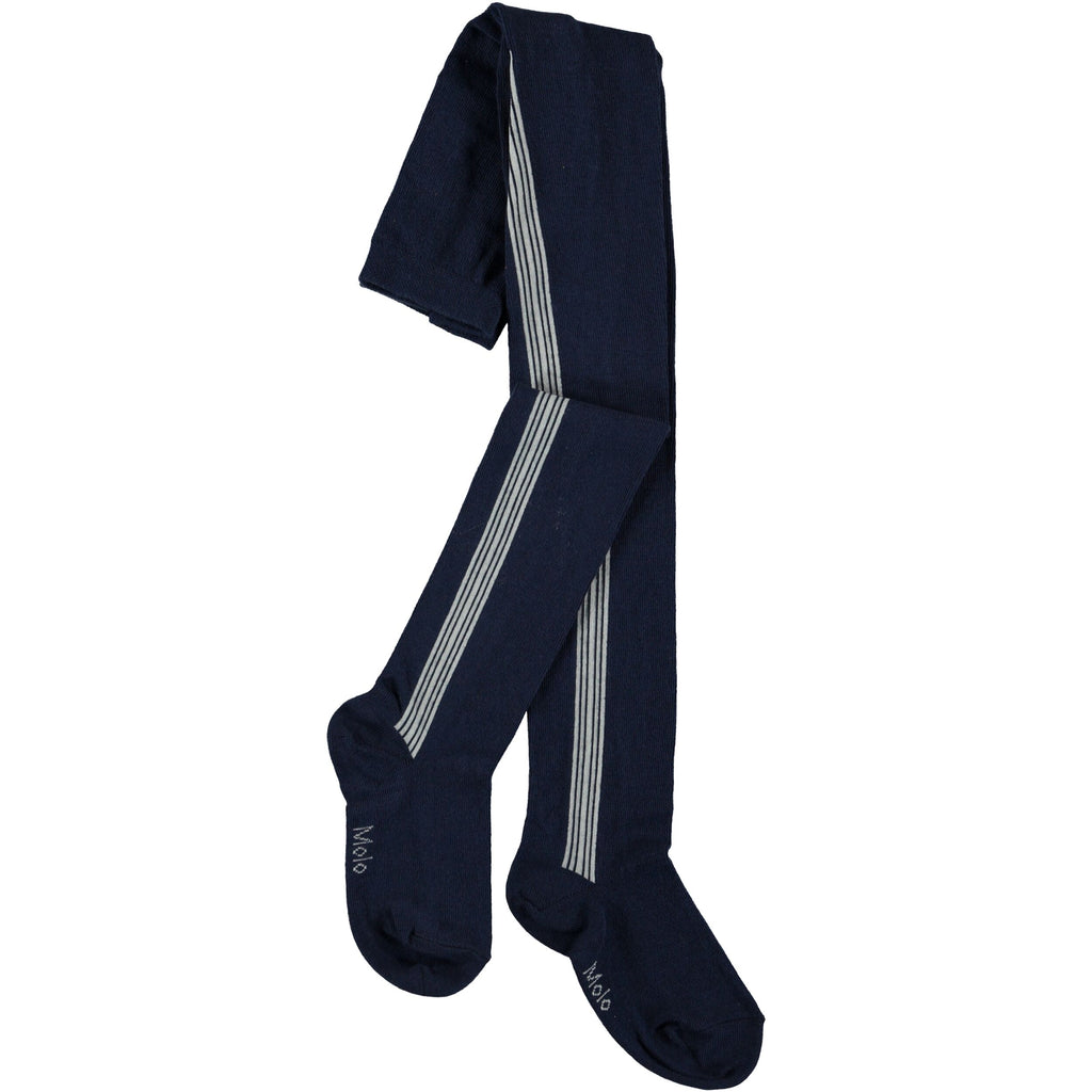 molo sports stripe tights classic navy, sporty style for kids, comfortable styles for kids, comfortable leggings for kids, elastic waist band for kids, elastic waist legging, navy blue sports tights for kids, navy blue sports leggings for kids with white stripes. free fast shipping on all orders over $99 from kodomo-boston