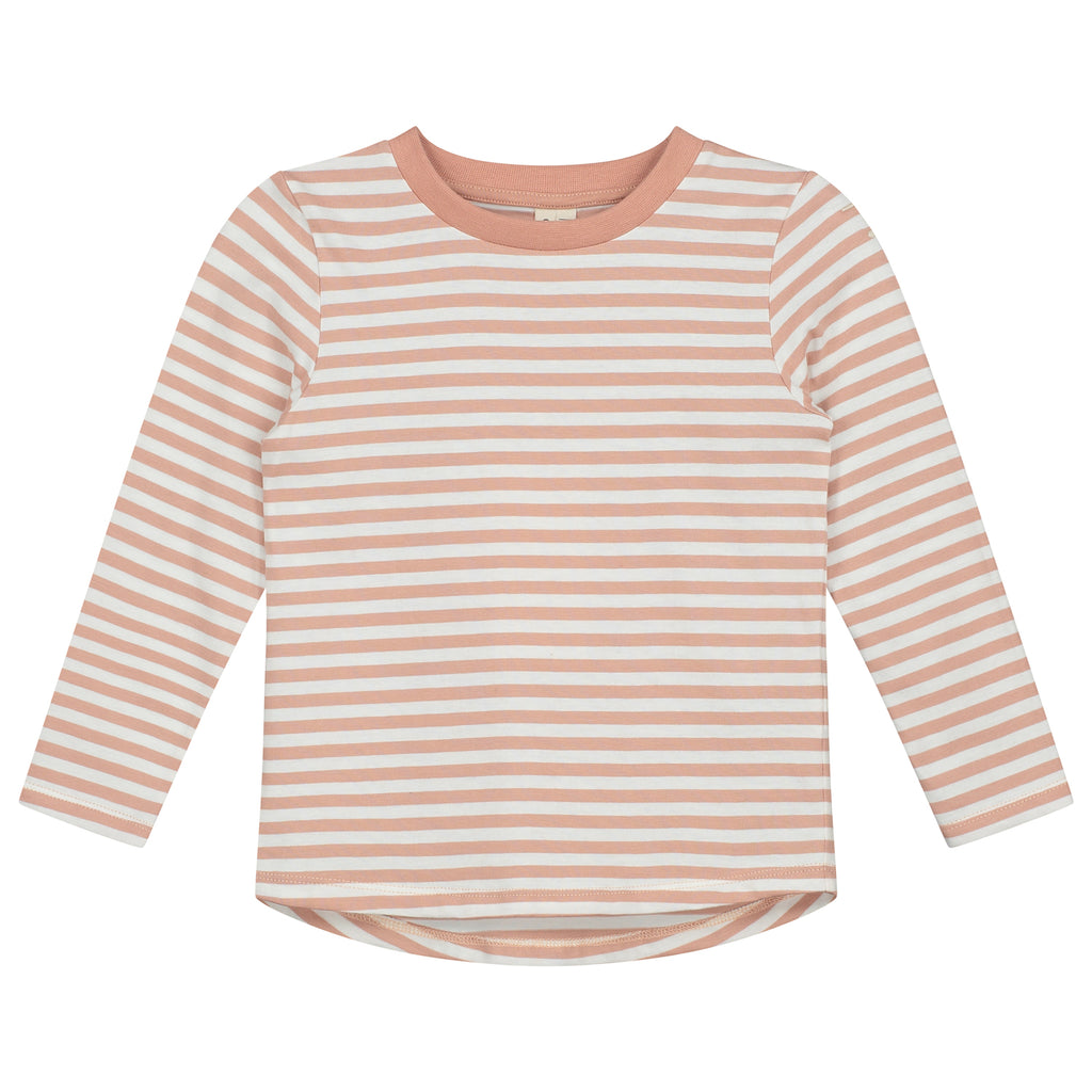 gray label long sleeve striped tee rustic clay/cream stripe, new gray label at kodomo boston