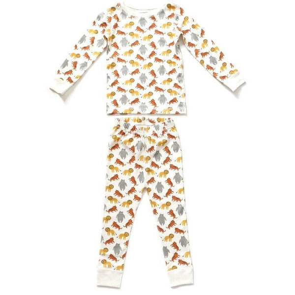dodo banana pajama set lions, tigers, and bears, kid's organic cotton pajamas