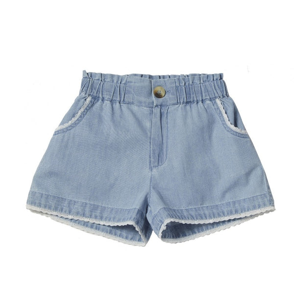 bonheur du jour majorque shorts denim blue, girls cotton bottoms