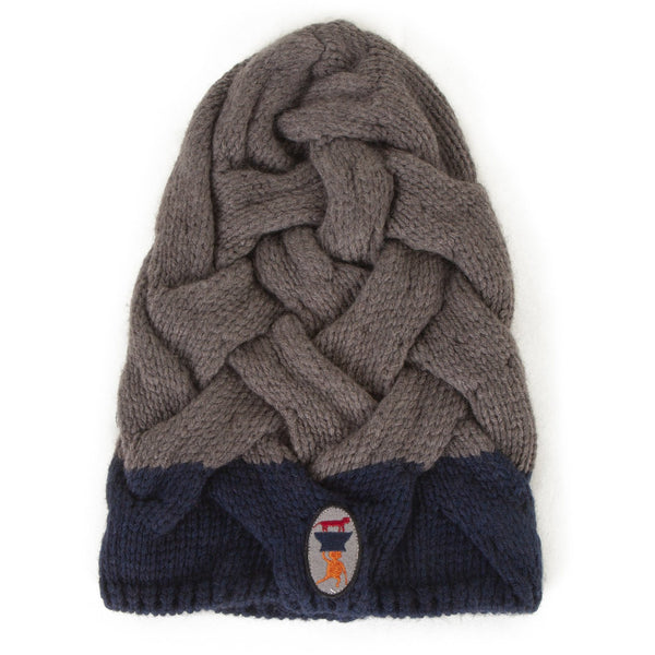 wolf & rita mario braid taupe beanie, warm knit hat fall winter cozy styles for children, free shipping at kodomo boston