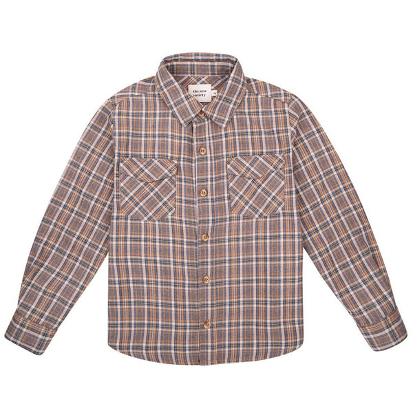 the new society milosh shirt soft blue check, classic flannel style long sleep top for boys children fall winter collections, fast free shipping at kodomo boston