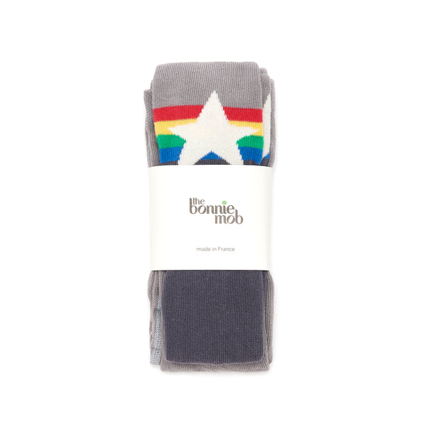 the bonnie mob molly rainbow star tights in grey. fast free shipping over $99 from kodomo boston