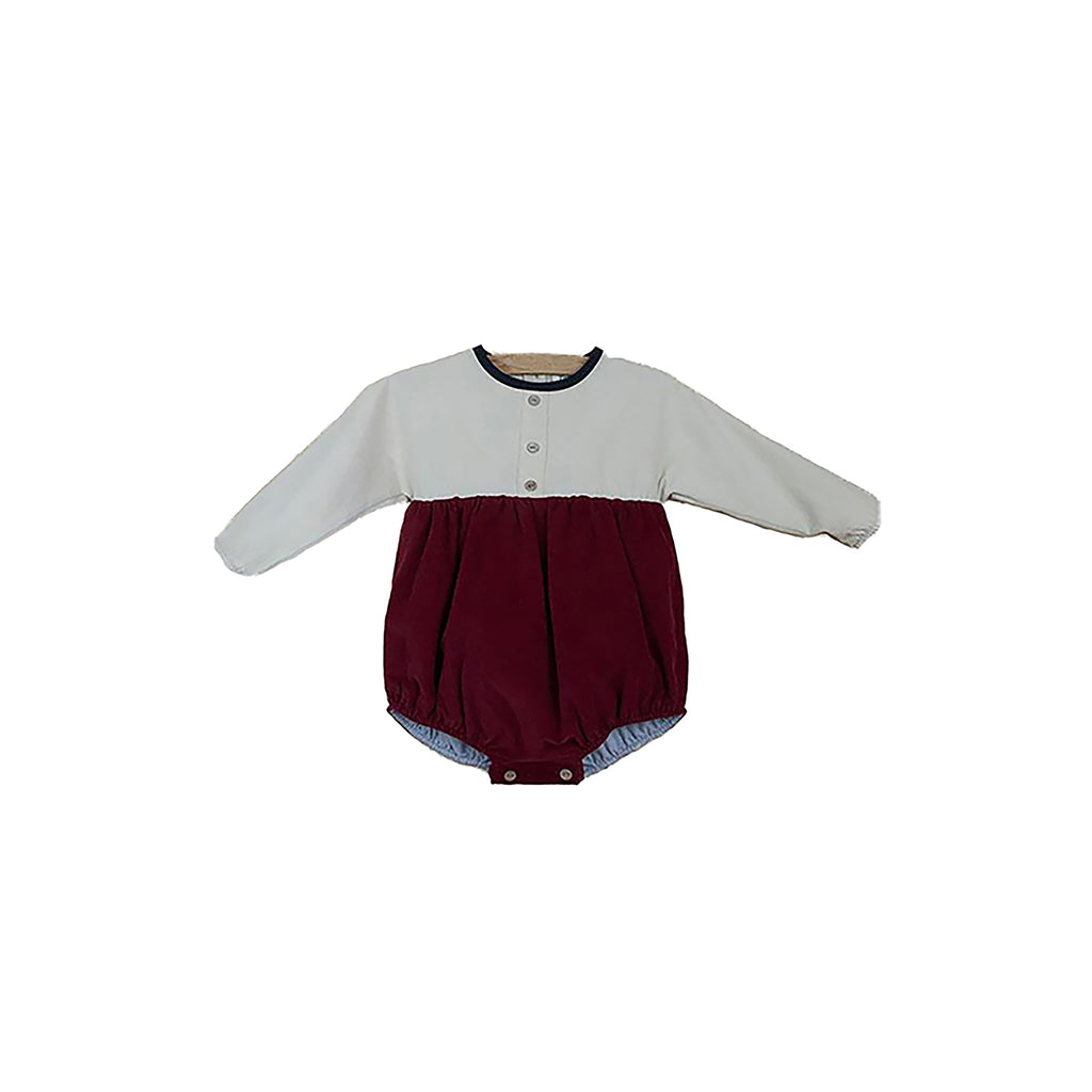 popelin burgundy long sleeve romper suit