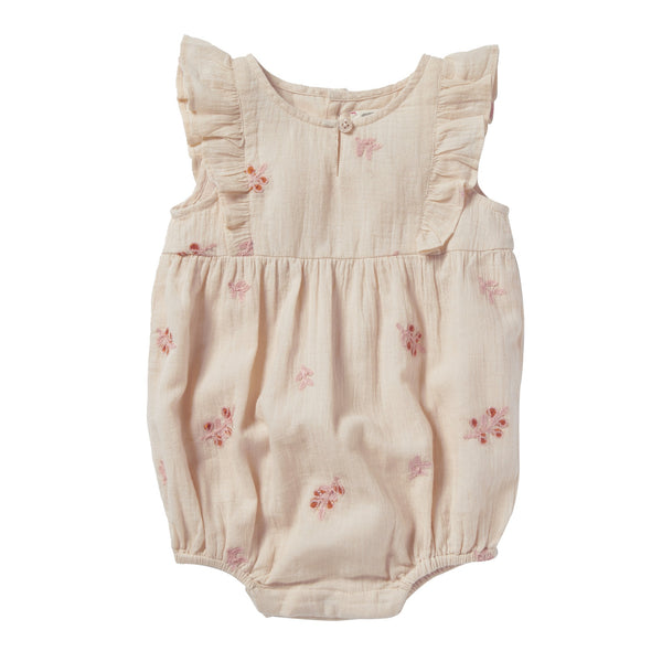 bonheur du jour noe baby flowers romper pink, sweet baby girl gifts at kodomo boston free shipping