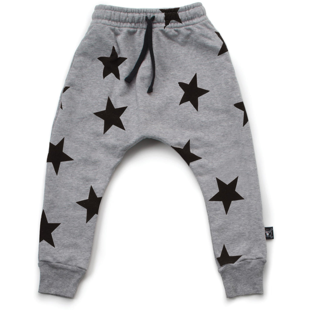nununu star baggy pants heather grey - kodomo baby bottoms - children's clothing in boston, nununu - bobo choses, atsuyo et akiko, belle enfant, mamma couture, moi, my little cozmo, nico nico