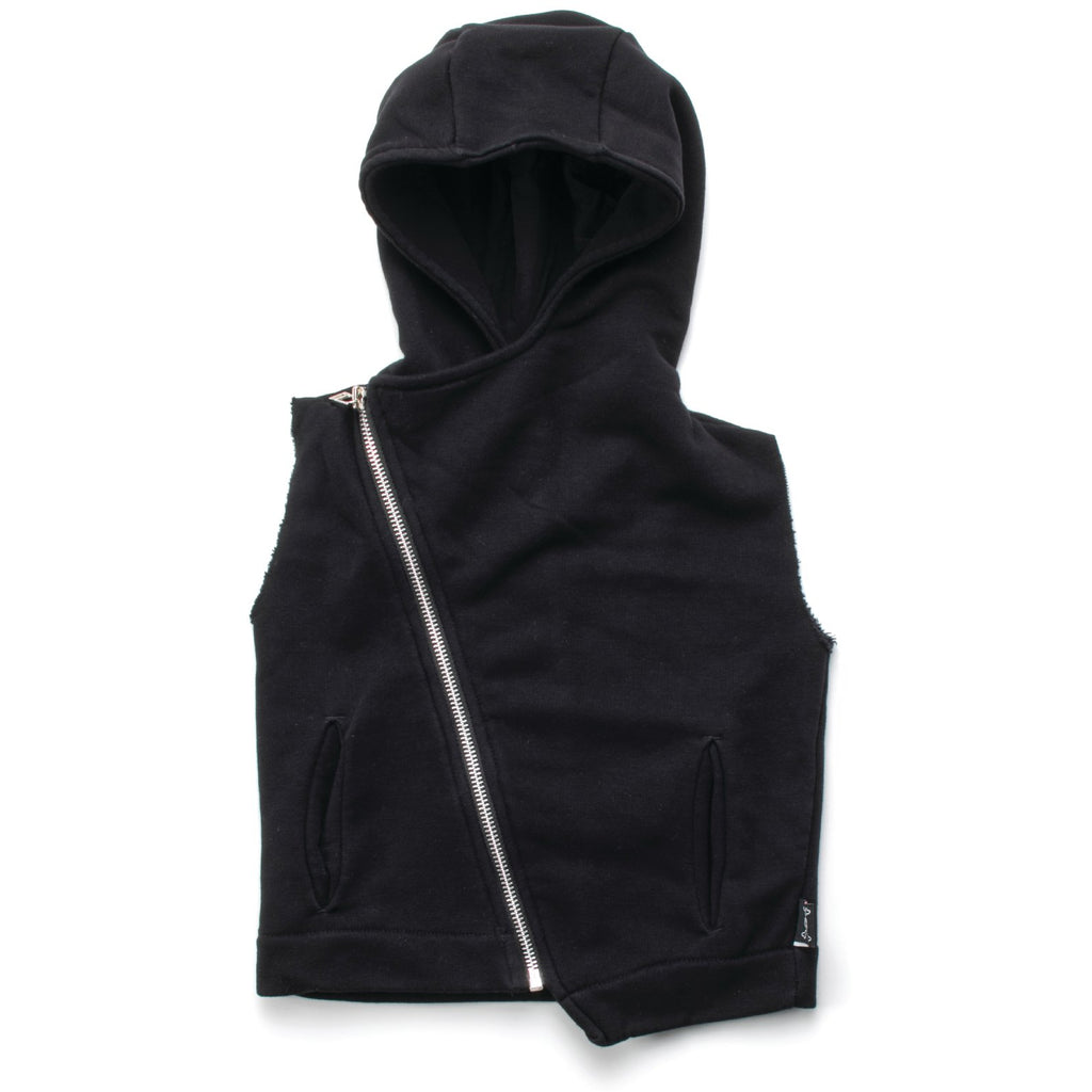 nununu hooded diagonal vest black - kodomo tops - children's clothing in boston, nununu - bobo choses, atsuyo et akiko, belle enfant, mamma couture, moi, my little cozmo, nico nico