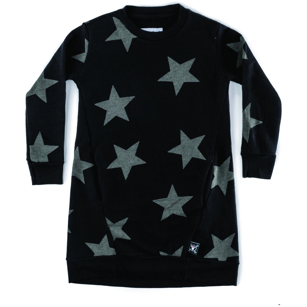 nununu star a dress black - kodomo boston, fast shipping, nununu star dresses, girls sweatshirt dresses