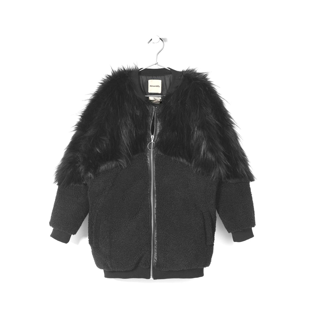 andorine oversized zipped faux fur coat black - kodomo