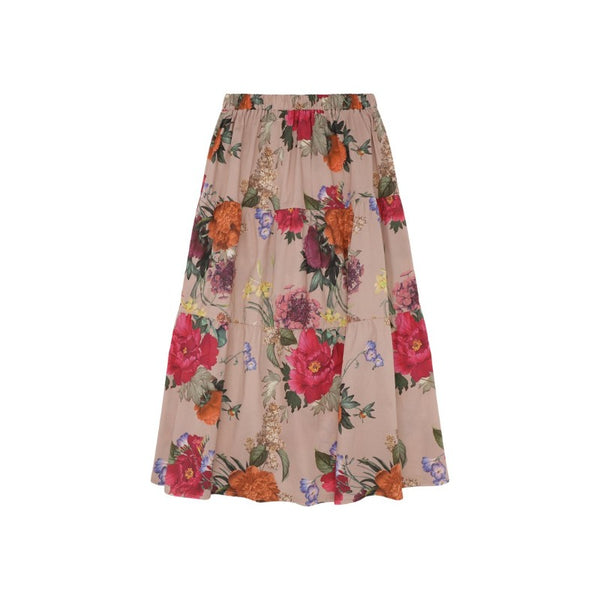 christina rohde floral long skirt pale rose, girl's eco-cotton bottoms