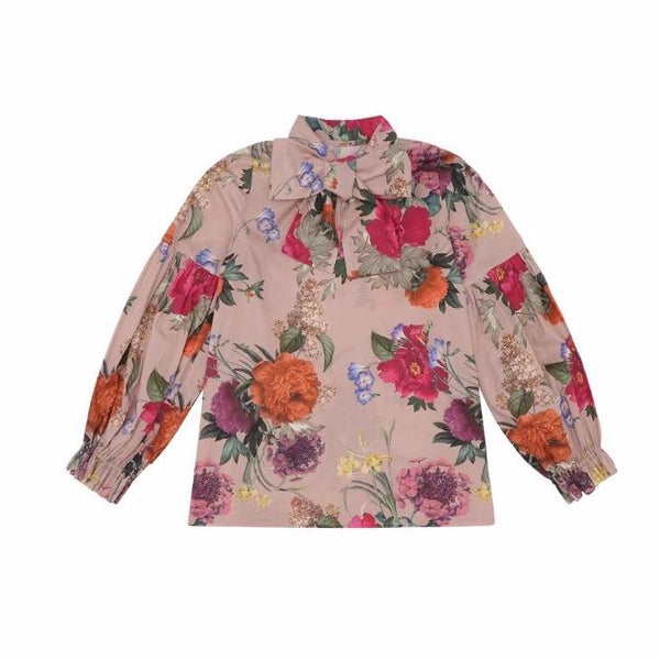 christina rohde floral bow blouse pale rose, girl's eco-cotton tops