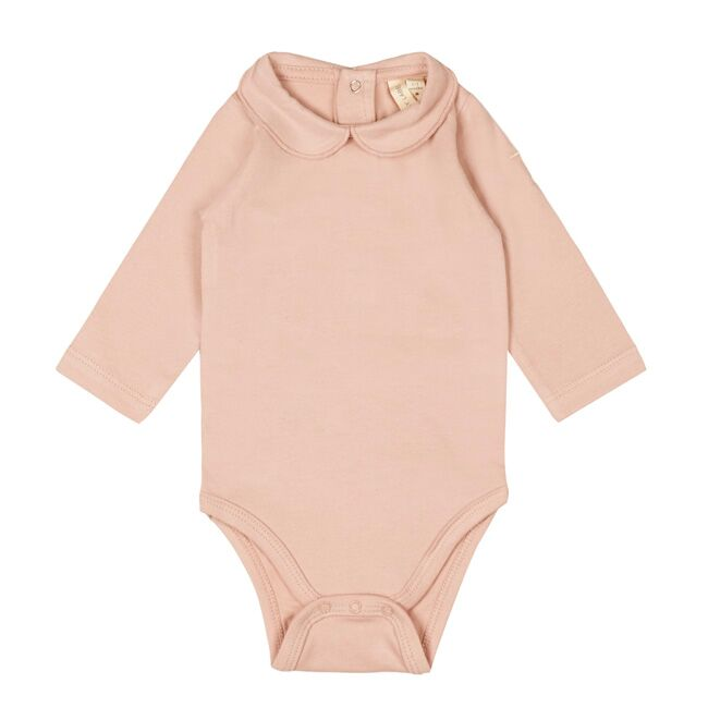 gray label baby onesie with collar vintage pink - kodomo boston, baby organic cotton clothing, new gray label collection.