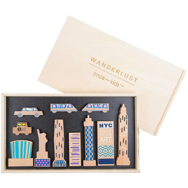 once kids wanderlust wood + felt themed new york play set, children's blocks pretend play