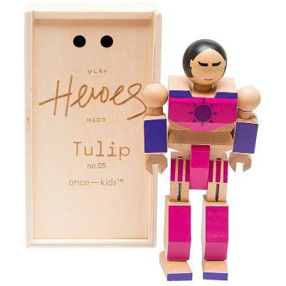 once kids playhard heroes #5 tulip, children's eco-friendly figurine toys