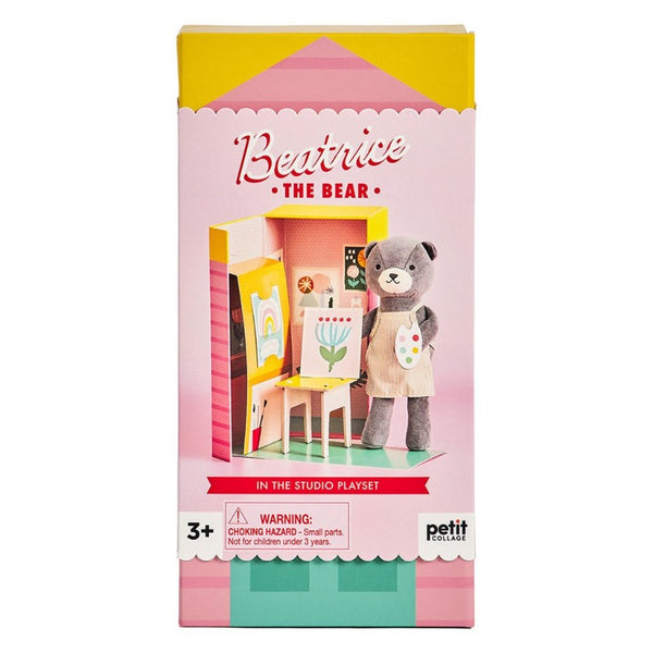petit collage beatrice the bear playset, kid's paint art toy