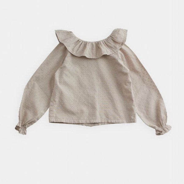 belle enfant plumeti blouse flax, baby and girls blouses for spring summer 2020 at kodomo boston, free shipping