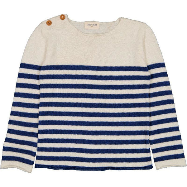 louis louise bobby cotton sweater navy/off-white stripes, kid's unisex knit tops